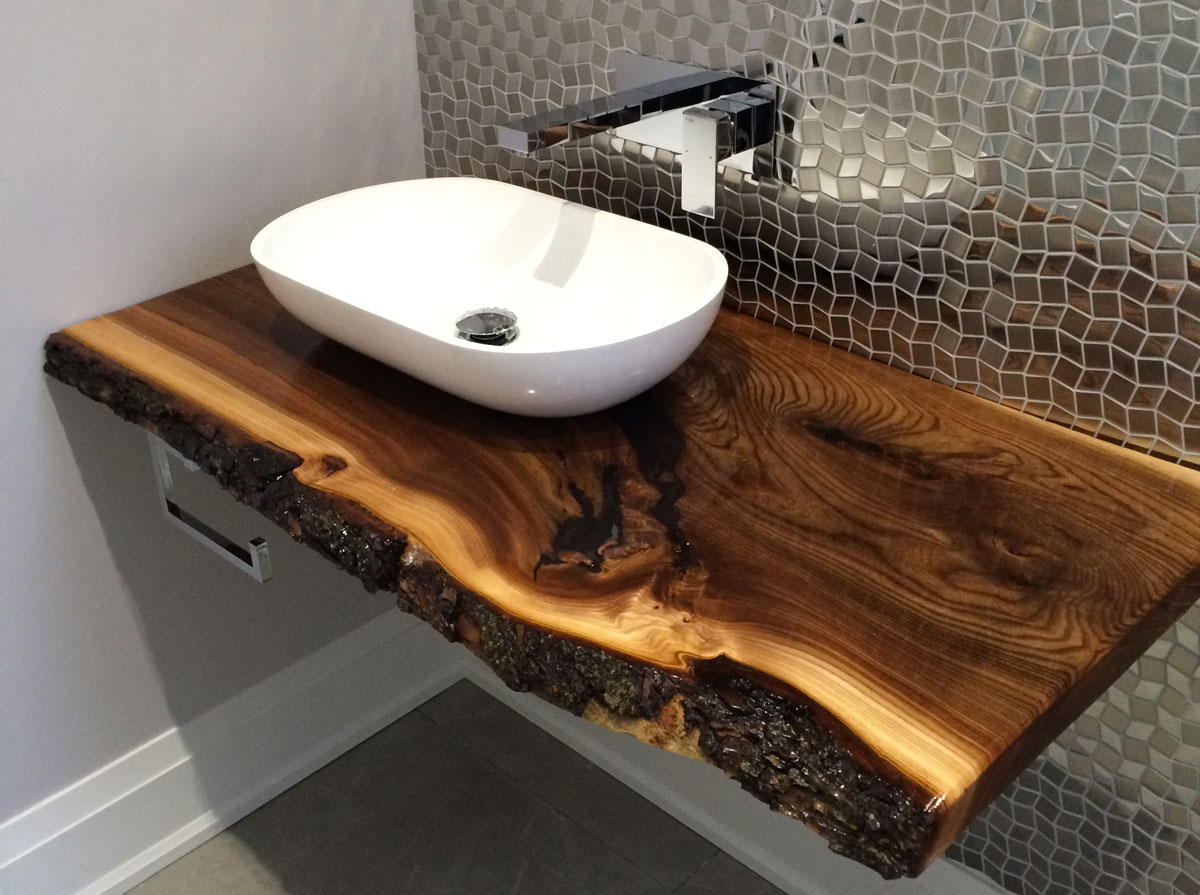 Salvaged Elm bathroom vanity